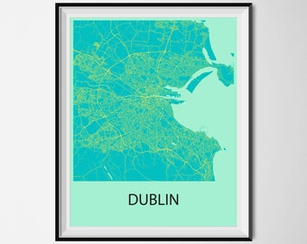 Dublin Map Poster Print - Blue and Yellow