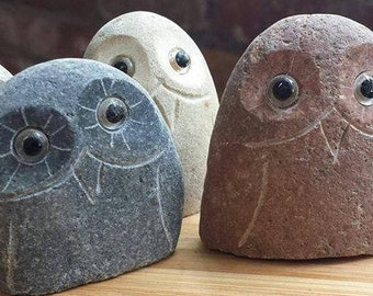 "2"" Stone Rock Boulder Owls-One"