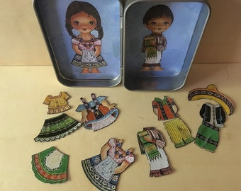 Altoids tin, pocket toy, paper dolls, girl and boy from Mexico, magnetic clothes