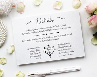 Wedding Details Card Template, Rustic Wedding Details Card, Editable Text, Printable File, Instant Download, PDF Template #BCB014