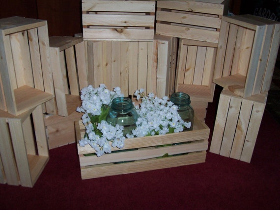 Flower planter box wooden crates 18in wedding centerpieces like this item junglespirit Image collections