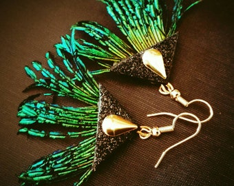 Natural Peacock feather earrings.