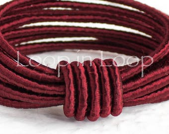 Dark Red SILK cord Wrapped Silk Satin Cord rope 3.5 mm thick organic natural hand spun silk, polyester core, for Jewelry