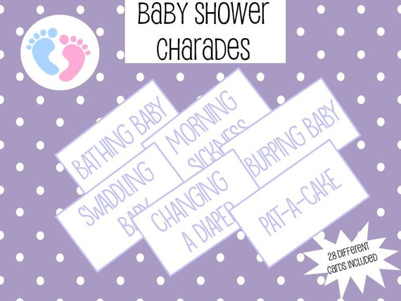 Printable Baby Shower Charades Cards