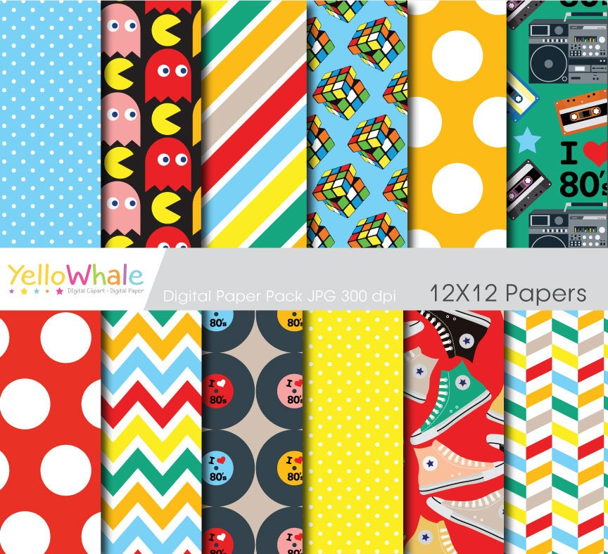 Digital Paper 80\'s Party for scrapbooking paper crafts