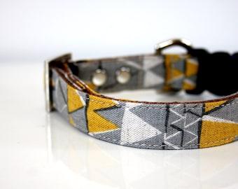 Cotton Linen aztec Triangle Dog Collar - gray, mustard - Silver