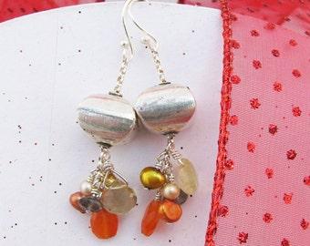 Hill Tribe Sterling Pillow Carnelian Pearl Iolite Rutilated Quartz cluster Dangle Earrings