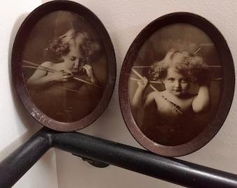 1800s CUPID PHOTOGRAPHS, Set of 2 Framed Cupid Photographs, Cupid Asleep, Cupid Awake, Victorian Decor, Nursery Decor, M. B. Parkinson Photo