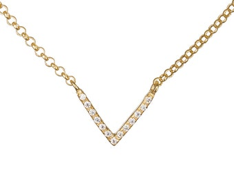 V Gold necklace, Chevron necklace, CZ gold necklace, Geometric necklace, Pave necklace, Cubic zirconia necklace, Delicate necklace