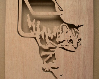 Cat Flap Wooden Stencil Pet Door