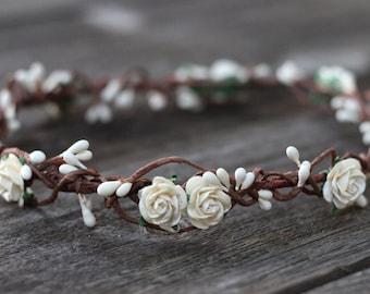 Ivory Flower Crown, White Flower Crown, Floral Crown Wedding, Headpiece Cream, White Crown - Flower Headband - Maternity Floral Crown, Halo