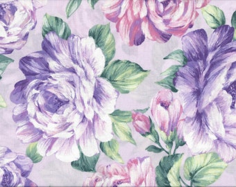 Flowers on Lavendar, 100% Cotton Fabric Sold by Half Yard (22232)
