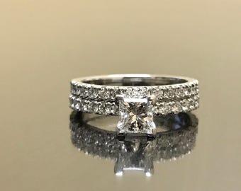 14K White Gold Princess Cut Diamond Engagement Ring - Princess Cut Diamond Wedding Ring - 14K Solitaire Diamond Ring - Diamond Bridal Set