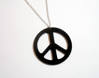"Large Peace Pendant Laser Cut Black Acrylic on Chain - 2.25"" Black Acrylic Peace Sign Necklace on 24"" Silver Plated Chain"