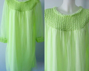 Vintage Chiffon Nightgown, Vintage Nightgown, 1960s Nightgown, Lime Green Chiffon Nightgown, Canadian Maid, Romantic