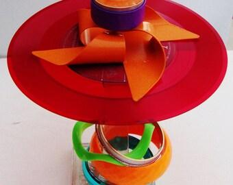 VOTIVE Record Art , Incense Burner, Glass Pedestal, Bangles, Rare Red Vinyl, Neon Green Orange Purple Red, Unisex Gift, Pinwheel, Home Decor