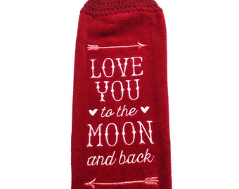 Love You To The Moon And Back Dark Burgundy Hand Towel With Claret Crocheted Top