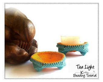Beading Pattern Beading Tutorial Peyote Stitch Beading Instructions Prayer Candle Stand Beadweaving Pattern Downloadable Pattern TEA LIGHT