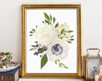 Anemone, Anemones Artwork, Anemone Bouquet, Fixer Upper Decor, Farmhouse Decor Sign, Fixer Upper, Boho, Printable Art, Floral Wall Art