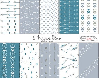 Arrows Blue , Digital Paper, , For personal and small business use