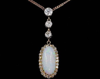 Prettiest Edwardian 6.00 Ct Harlequin opal and diamond necklace