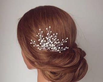 Bridal Hair Vine, Wedding Hair Piece, Babies Breath, Wedding Hair Comb, Baby's Breath Hair Pin, Pearl Hair Piece, Bridal Headpiece