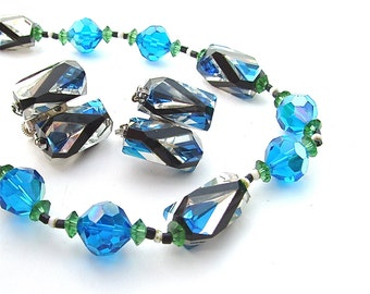 Designer Art Glass Unique VENDOME Necklace Earring Set Mad Men Gifts Sparkling Crystal Sapphire Blue Geometric Jewelry