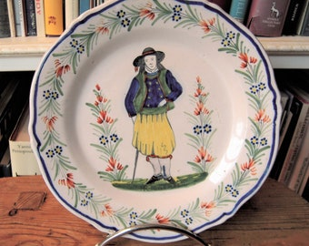 Antique Quimper Plate with Peasant Demi-Fantasie Border French Country Pottery