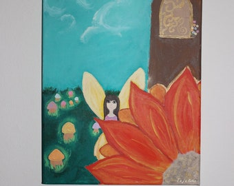 Fairy comes to visit, acrylic painting on canvas, magical faerie flower fairytale