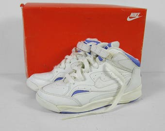 Vintage 90s Nike NOS Sneakers Hi Top Swoosh White Purple - Youth Size 1