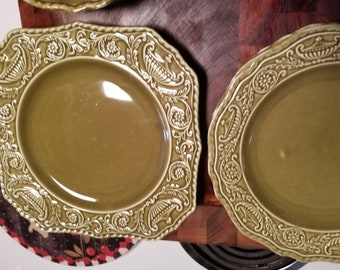 Vintage Canonsburg Pottery - Square Plate - Regency Green - Ironstone w/ Embossed Urns