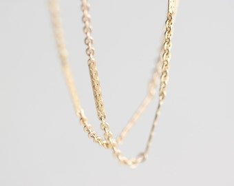 Shimmering Gold Bar Chain - thin simple 14k gold fill necklace, layering jewelry