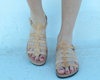 Greek tan sandals,Leather sandals,leather gladiators, handmade sandals, leder sandalen, nu-pieds multibrides, sandales grecques cuir