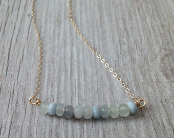 Natural Aquamarine and Gold Bar Necklace