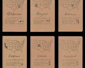 US States (A–N) letterpress state notebook