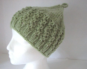 Olive green knit hat Chunky knit hat Hand knit beanie green knitted hat Winter womens beanie Chunky knit hats, Womens green skull cap