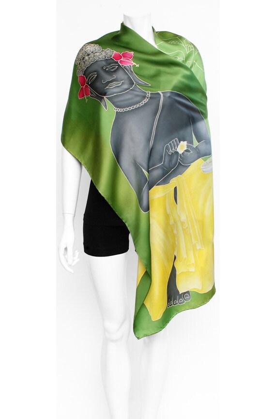 Buddha scarf, Hand Painted scarf, Silk Scarf, Flowers scarf, Green scarf, Frangipani, Beautiful scarf, Unique scarf, art of buddha, floral