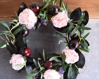 NEW! Spring Wreath, Summer wreath, mother's Day gift, peony and plum wreath