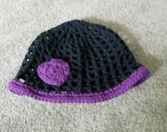 Infant-Girl's Crocheted Beanie/Cap/Hat with Flower/Heart in Sport Team/College/School/Etc. Black/Purple, Green/White, Orange/Navy Colors/Etc
