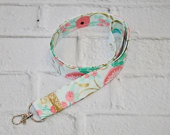 Floral Lanyard, Fabric Lanyard, ID Badge Holder, Key Lanyard, Gift, Mint, Pink, Gold Glitter