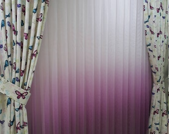 Butterfly Printed Decorative Curtain, Light Blocking Curtains