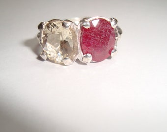 Ruby and Citrine Sterling Silver Ring, .925 Sterling Silver, Handcast Design, Female Ring,  Birthday, Christmas, Motherss Day, Friend