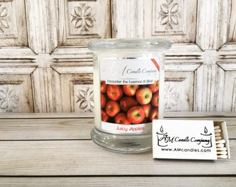 Juicy Apple Scented Candle  - Scented Soy Candles, Apple Scented Candles, Holiday Candles, Autumn Candles, Hand Poured, Coconut Soy Wax,