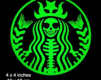 Mermaid Skeleton Siren Two Tailed - Glow in the Dark Decal / Sticker