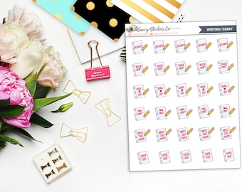 Writing Essay School College Planner Stickers | for use with Erin Condren Lifeplanner™, Filofax, Personal, A5, Happy Planner