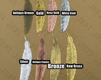 10 Filigree Feather 110x23mm Raw Brass/ Antique Bronze/ Bronze/ Silver/ Gold/ Rose Gold/ White Gold/ Gun-Metal Plated