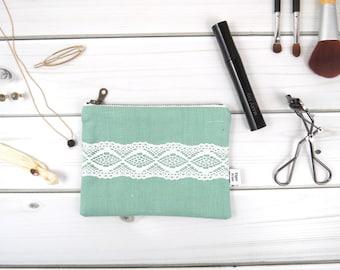 Linen Lace zipper pouch small size - CHARLOTTE in Aqua - vintage cotton lace, linen cosmetic bag, passport case clutch