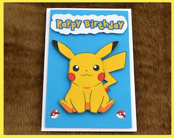 Pikachu from Pokemon 3D Birthday Card.