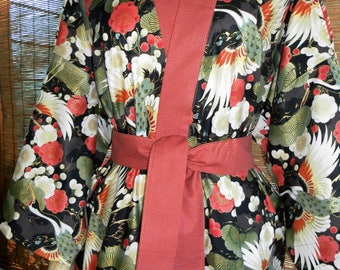 Haori Happi Coat Hip Length Kimono with Pockets CRANES CHRYSANTHEMUMS and BONSAI Birthday Christmas Mothers Day Fathers Day