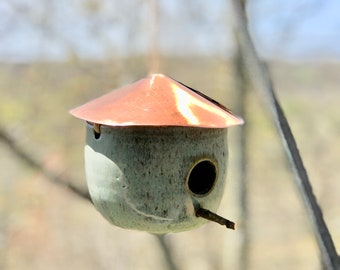 Handmade Pottery Birdhouse- copper roof, Blue Green Glaze,birds